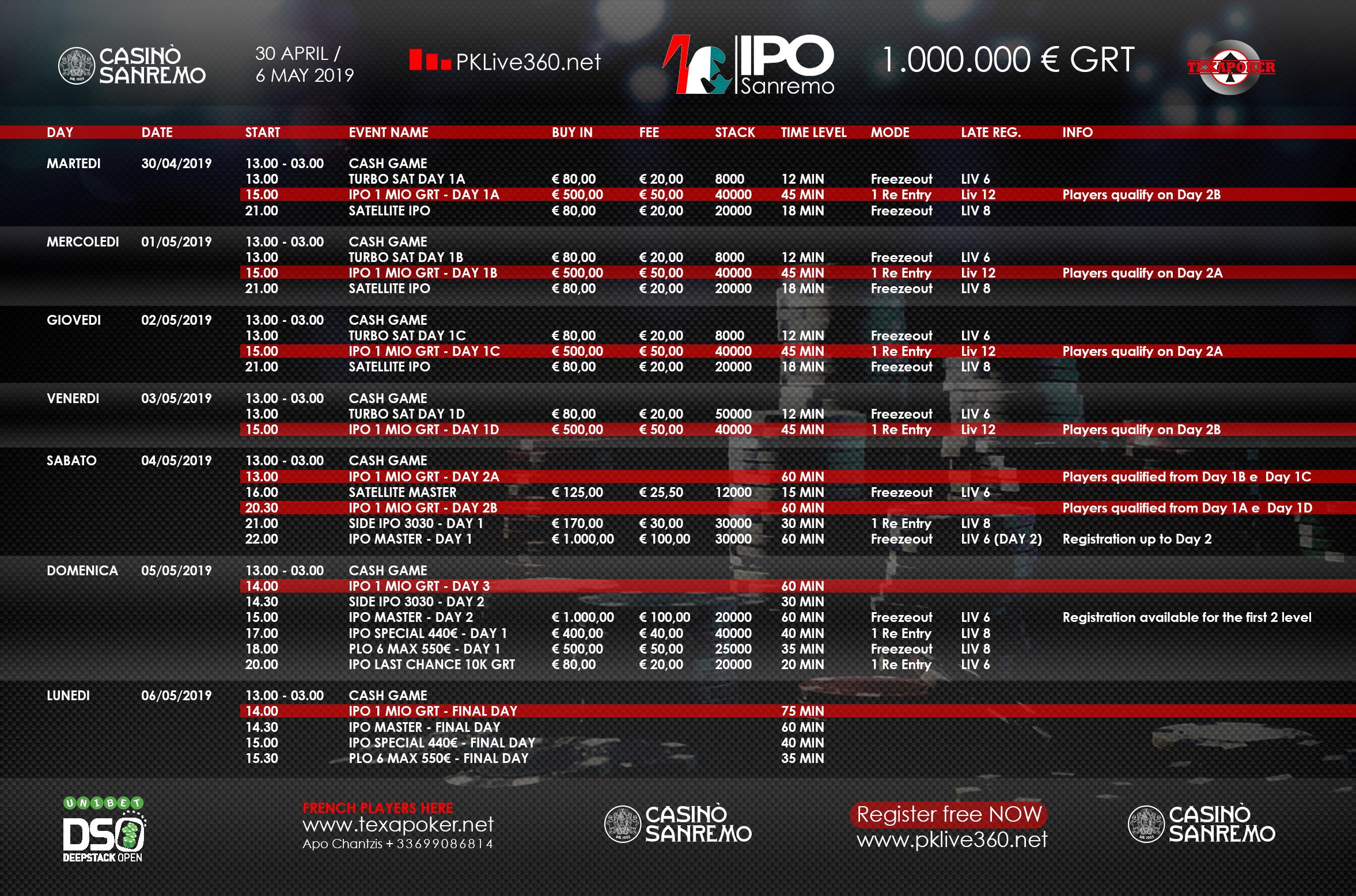 IPO UDSO Sanremo Saison X @ Casino Sanremo | Sanremo | Liguria | Italy